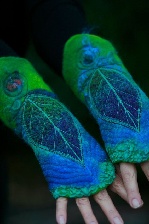 Felted Cuffs - Felted gloves - Arm warmers - Felt hand warmers - Nuno Felted Cuffs- Azure Leaf