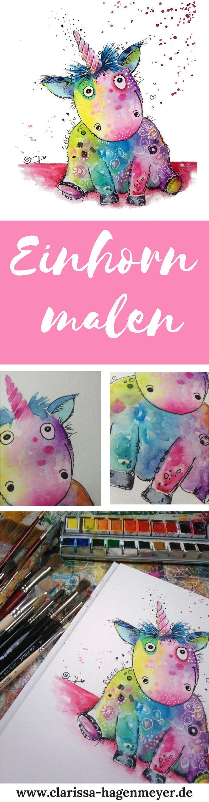 Einhorn malen: Eine einfache Anleitung für dich für ein fröhliches Einhorn – Clarissa Hagenmeyer: Malen und Kreativität!