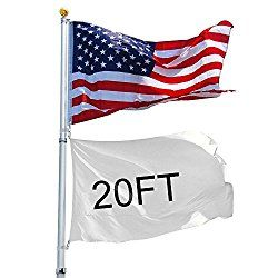 YesHom 20ft Telescopic Aluminum Flag Pole Free 3'x5′ US Flag & Ball Top Kit 16 Gauge Telescoping Flagpole Fly 2 Flags