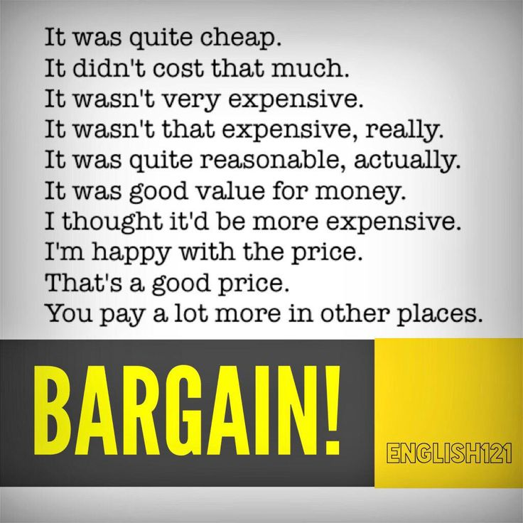 Vocabulary: Bargain = something on sale at a lower price than its true value