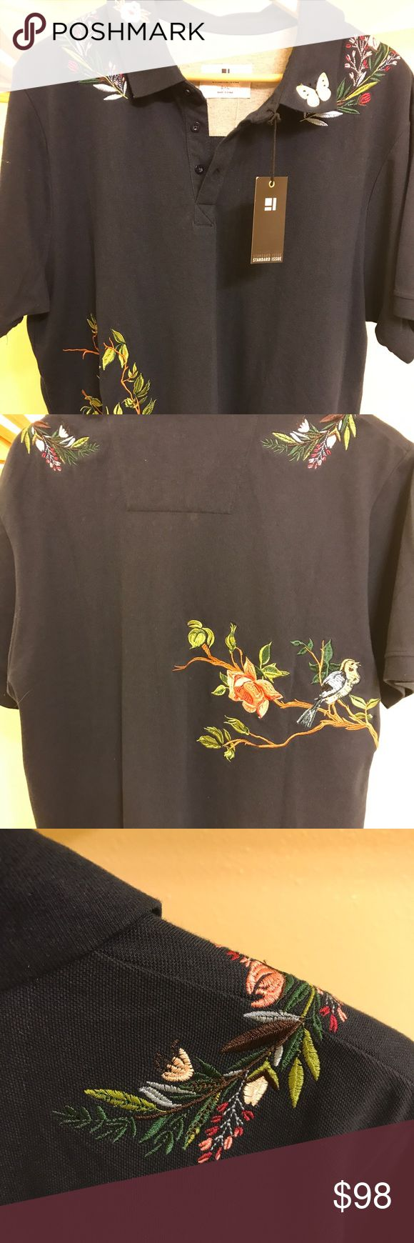 Man's Embroidered Polo Shirt in XXL Navy NWT By Standard Issue  NWT Standard Issue Shirts Polos