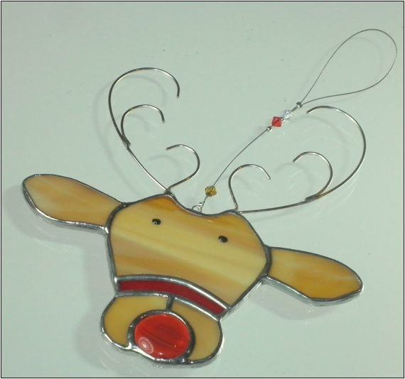 Stained glass Reindeer christmas ornament by RainbowStainedGlass                                                                                                                                                                                 More