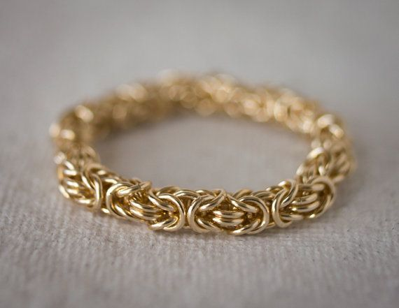 Gold Byzantine Chain Ring Chainmaille Yellow Gold by Femailler