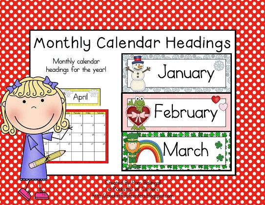 Classroom Calendar Days Of The Year : Monthly calendar headings calendars and