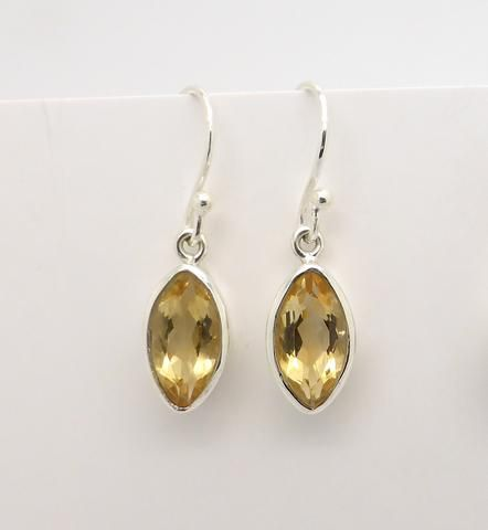 Citrine Marquise Earring Small Silver