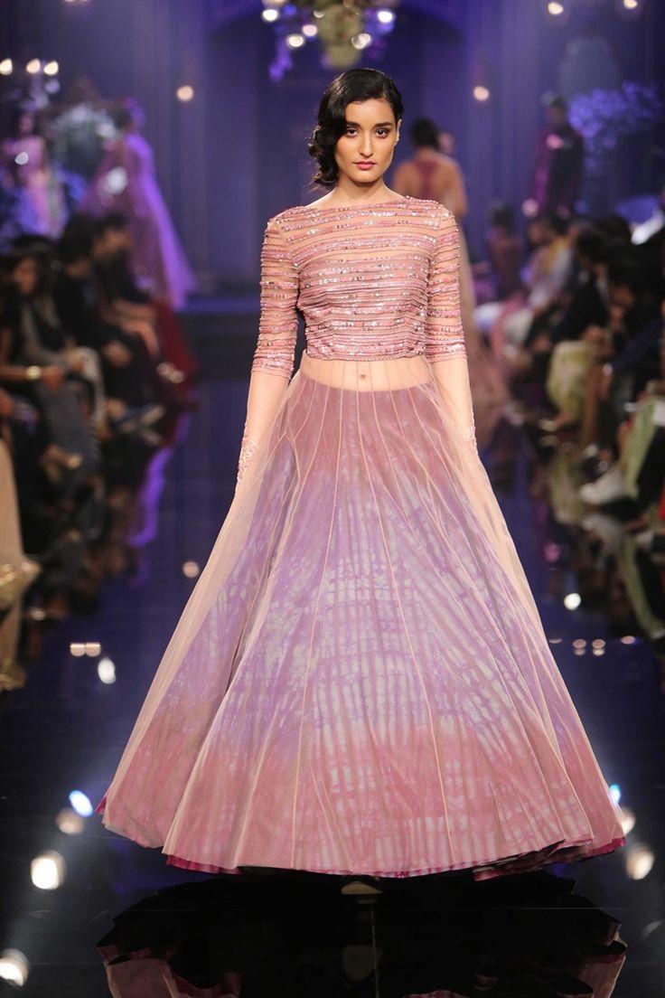 just.so.pretty pink+purple ombre tye dye look | Indian lengha by Manish Malhotra at Lakme Fashion Week