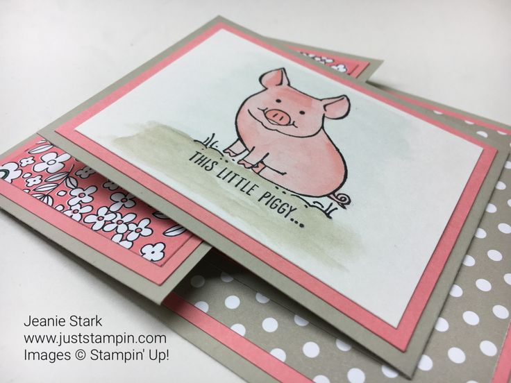 Welcome to my ABC's with Fun Folds series.  Today I have a Joy fold card for you. The joy fold is basically a card within a card.  It is all about the layers and a fun focal point.  This Little Pig…