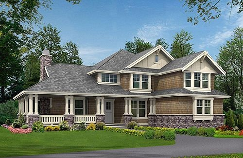 HousePlans.com 132-186 - Nice front covered porch and an