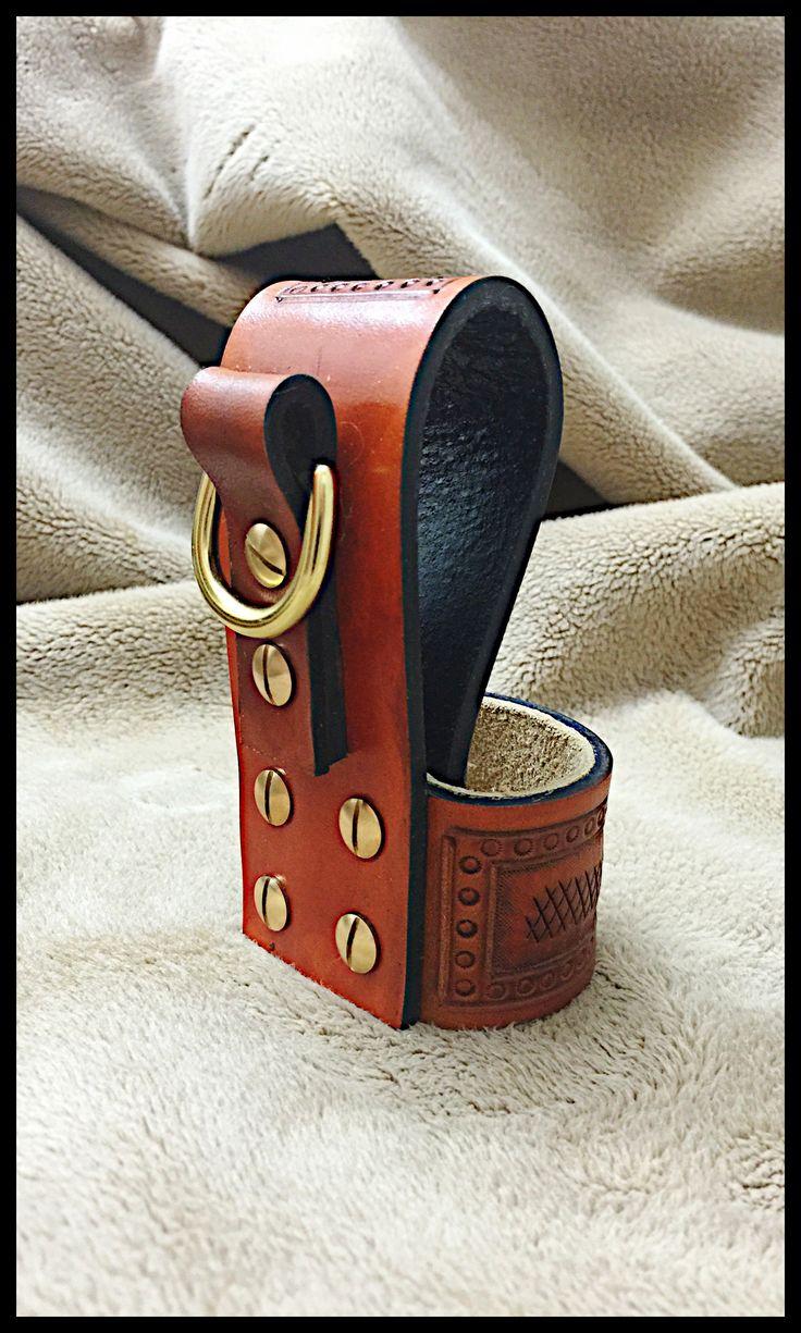 Custom Leather & Brass Axe Belt Loop w/ Suede Lining & Dee Ring (Backside) by John Black