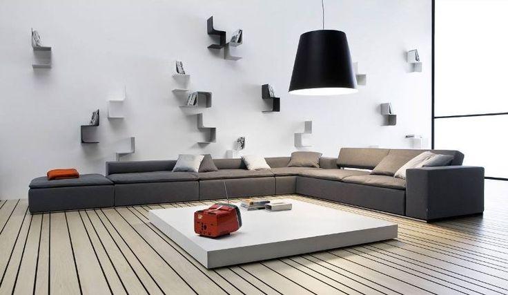soggiorno marrone con porta tv in vetro Bergamo