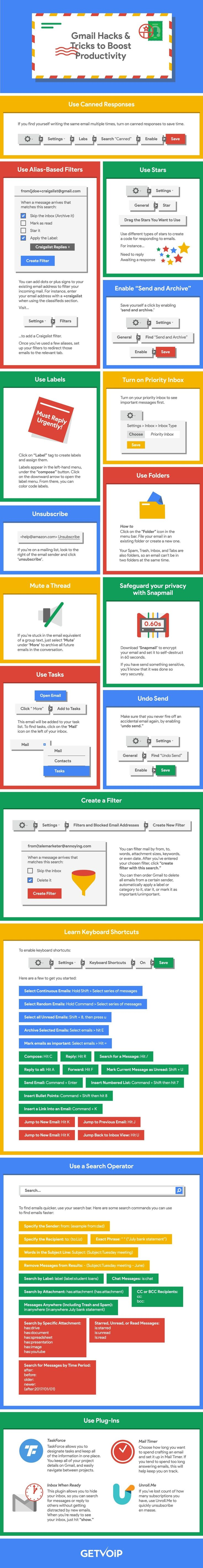 16 Gmail Tips and Tricks To Streamline Your Inbox - #infographic
