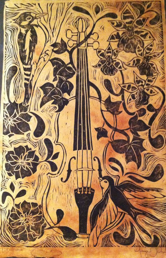 """""""El Carpintero/The Woodpecker"""" features a violin surrounded by orchids, roses, ivy, a woodpecker and a swallow. Linocut print on gorgeous Tibetan paper. Printed with archival Speedball oil ink.  Print measures 16x20. $45 on Etsy"""