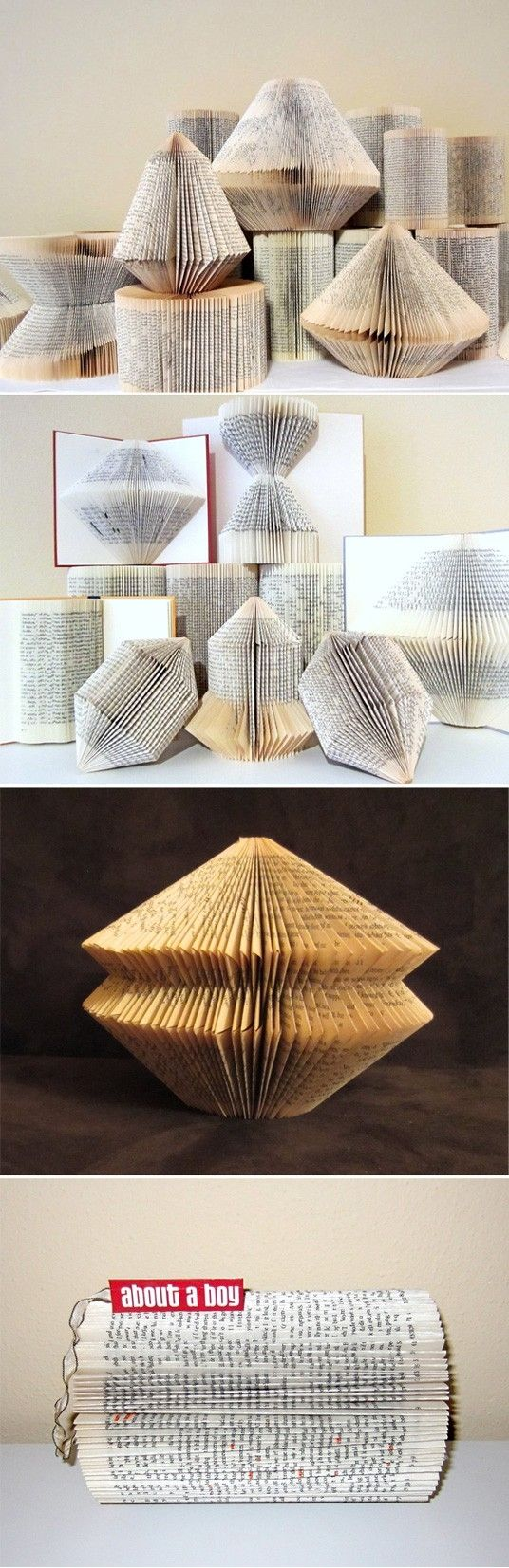 Folded book art - not that I believe in ruining books, but if it's be bad shape already this is cool