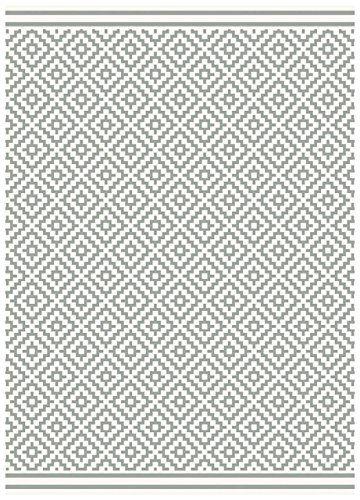 Teppich Wohnzimmer Carpet Flachgewebt Kurzflor Design PATIO DIAMOND RUG 100 Polypropylene 80x150 Cm Rechteckig Grau
