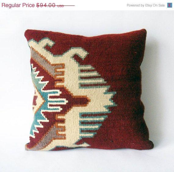 15 % SPRING SALE  - Kilim Rustic modern Bohemian throw pillow Antique geometric Hand Woven Pillow Cover wool vintage handwoven turkish kili