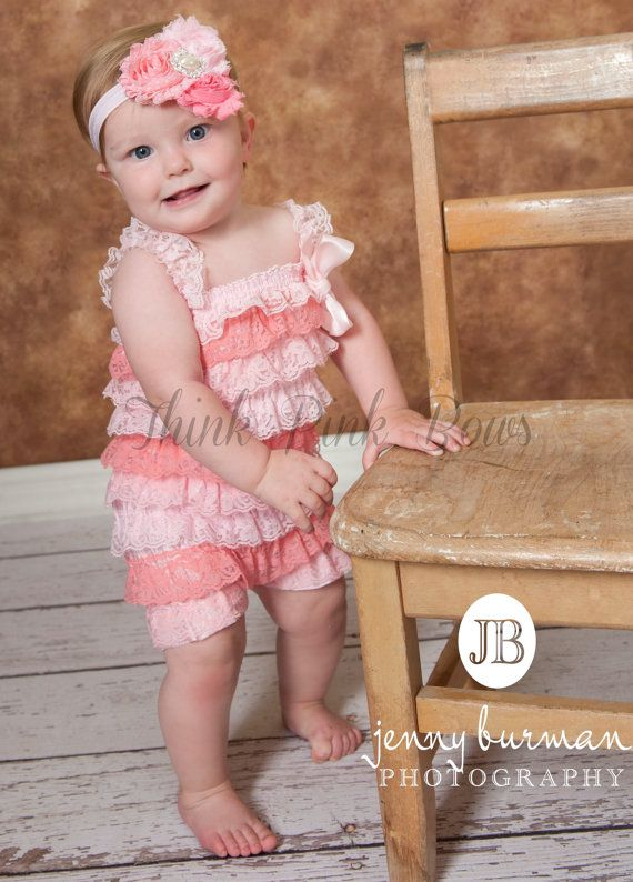 Pink Petti Lace RomperBaby girl Petti Romper by ThinkPinkBows, $14.95