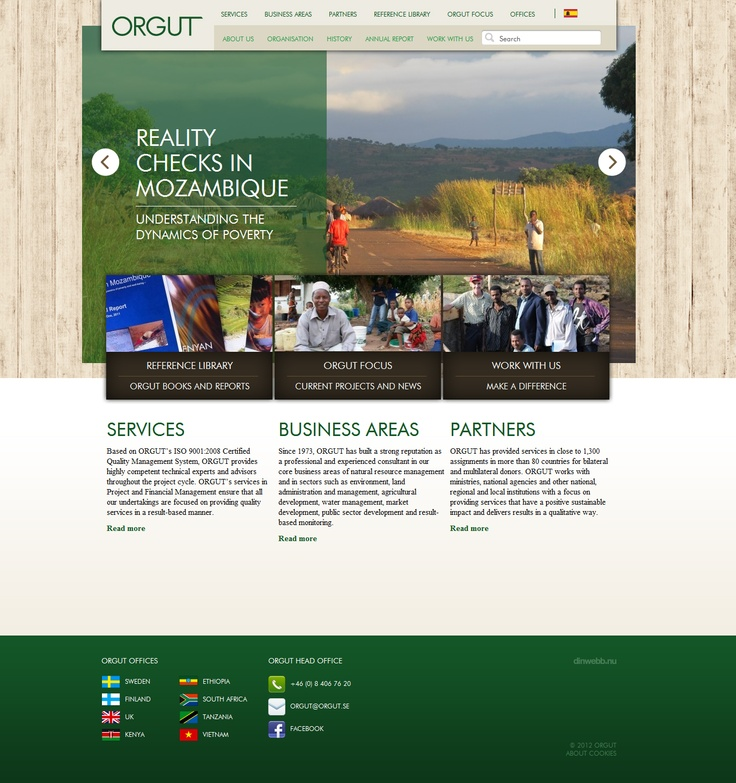 Web design for ORGUT (ORGUT is an independent staff-owned service provider in international development cooperation). I am very happy with the finaly look and feel of the page. By Dejan Mauzer / dinwebb.nu