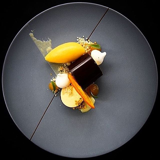Parfait of passion fruit, mandarin orange and chocolate by @malkie…