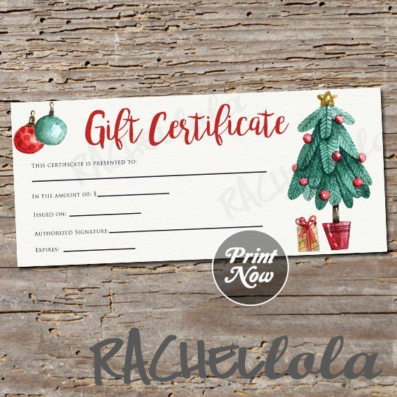 Christmas Tree Printable Gift Certificate Template Direct Sales