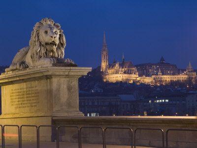 Chain Bridge, Embankment River Buildings, Budapest, Hungary