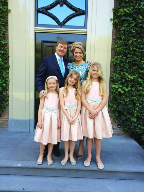 Koningsdag 2014, April 26, 2014-King Willem Alexander and Queen Maxima with their three daughters-Princess Ariane, Princess Alexia, and Princess Amalia, Princess of Orange