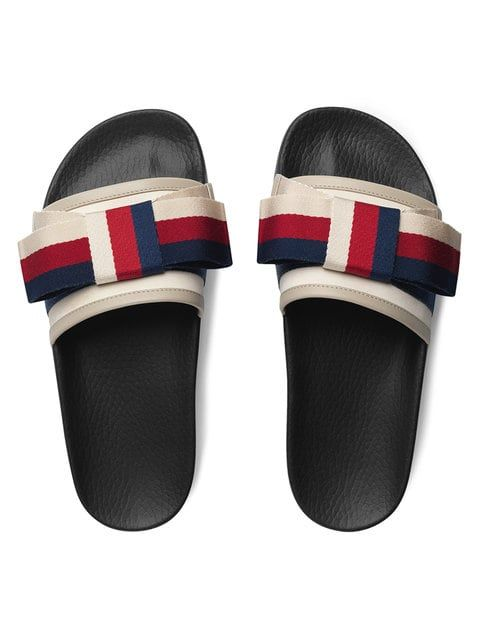 ae00c844d Gucci Satin Slides With Sylvie Bow in 2019   Gucci shoe   Fashion ...