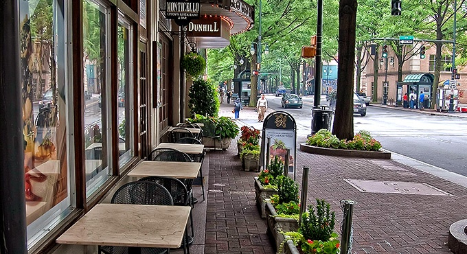 The neighborhood features numerous shops and cafes, The Dunhill Hotel, Charlotte, NC