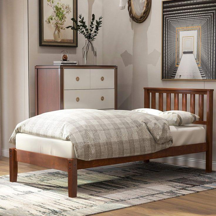 Twin Size Wood Platform Bed, Platform Bed Frame with