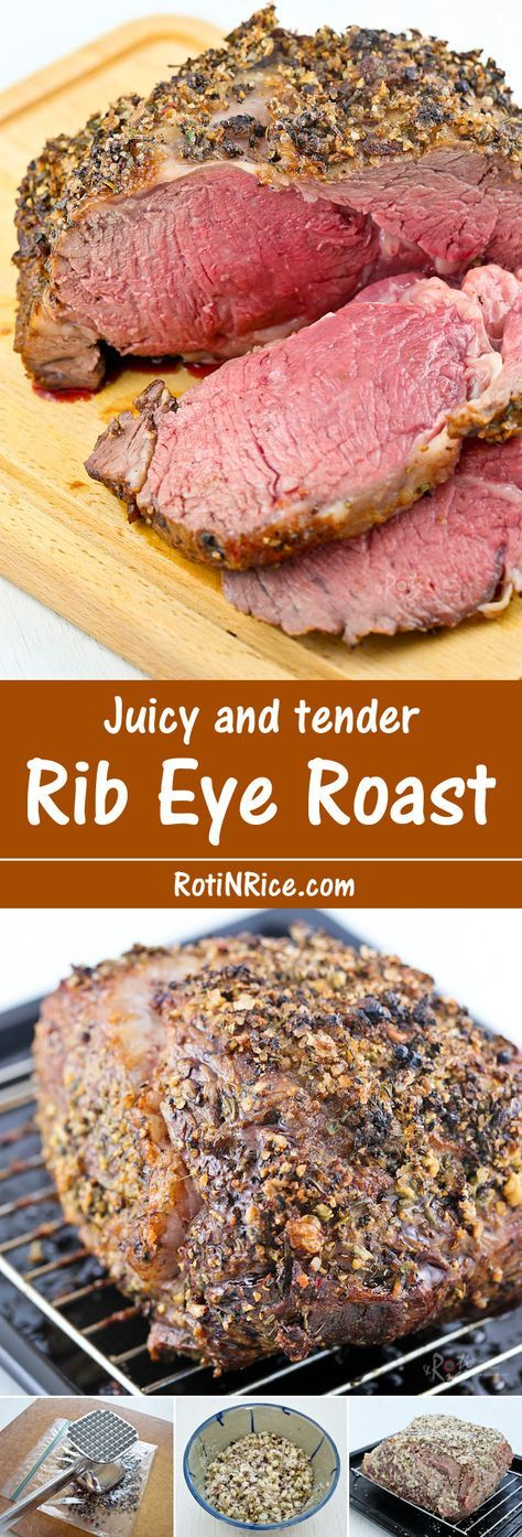 A tender and delicious Rib Eye Roast flavored with tri-color pepper, kosher salt, rosemary, thyme, and garlic for that special occasion.   Food to gladden the heart at RotiNRice.com