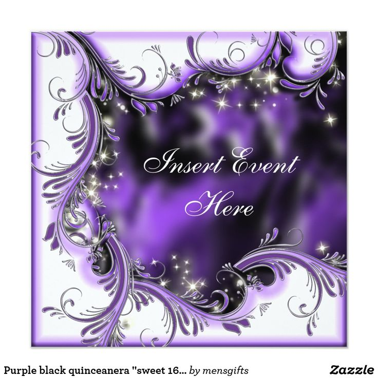 "Purple black quinceanera ""sweet 16"" party card Elegant floral swirls form a scalloped pattern along the edge of this stylish invitation, which has a festive, masquerade style black, lapis and purple background. CUSTOMIZE IT - Change the wording, the color / style and size of the font, and feel free to add or delete templates too. CUSTOM REQUESTS - For assistance, color changes or matching items, contact me on clientrequestrw@gmail.com"