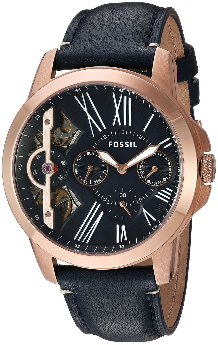 Fossil Mens ME1162 Grant Twist ThreeHand Blue Leather Watch * Check this awesome product by going to the link at the image. (This is an affiliate link) #FossilWatchCollection