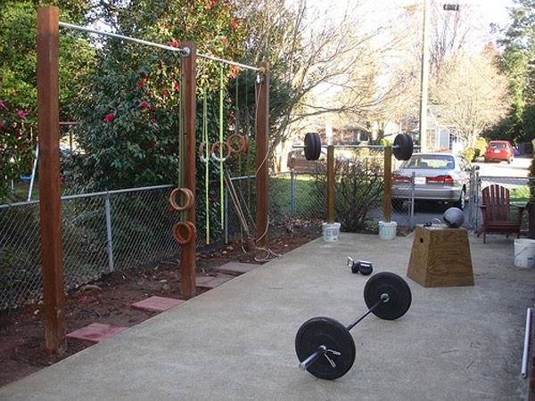 Outdoor gym probably a back yard lots of diy very