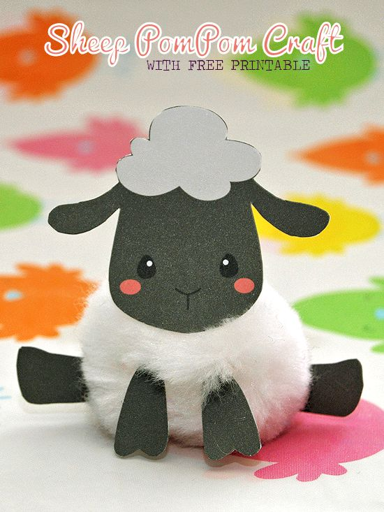 Sheep PomPom Craft with Free Printable Easter Craft, Spring Craft