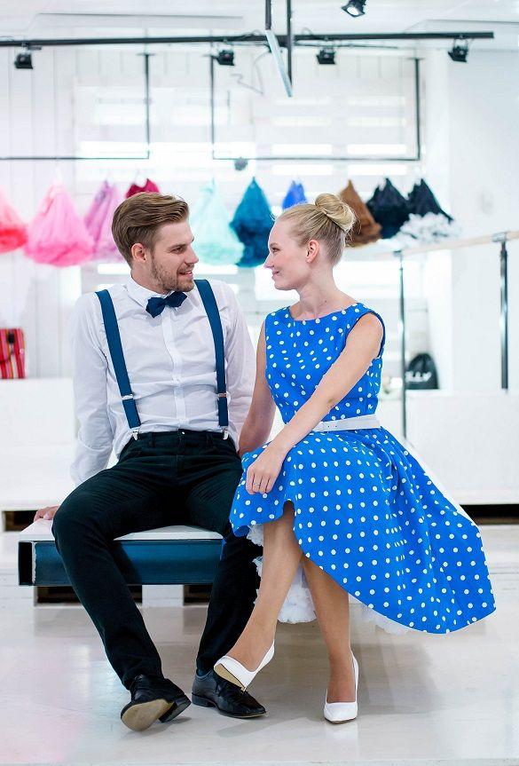 LindyBop retro šaty Audrey, modré s puntíky - PoshMe.cz