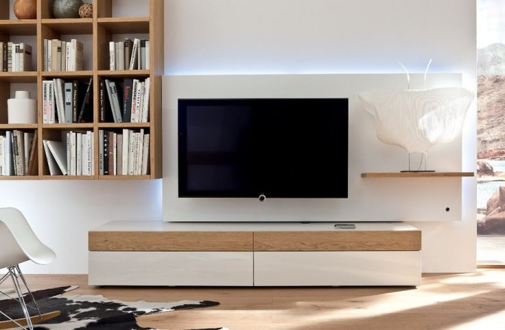 Choosing The Right Creative TV Stand Ideas for Our TV Room : White And Wood Modern TV Stand Ideas