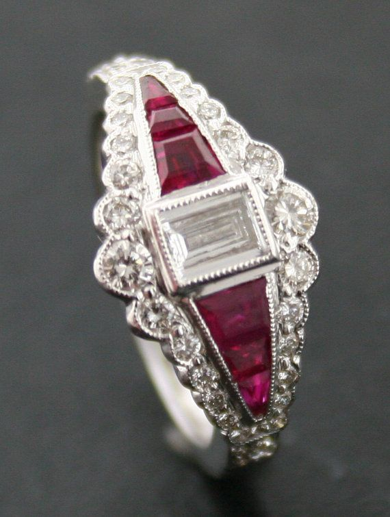 Art Deco Style Emerald Cut Diamond and Ruby Ring by SalondeJoules, $3950.00