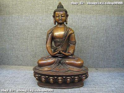 Tibet Fane purple Bronze red Copper Amitayus Sakyamuni Buddha Statue Hold bowl