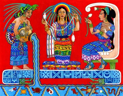 Ix Chel, the Maya Moon, Weaving, and IX'CHEL  Rainbow Goddess, by Thalia Took-- wicca art wiccan graphics goddess magical pagan art