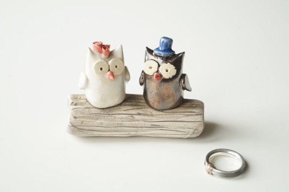 Love Tree,  Owl Wedding Cake Topper, Wedding Cake Topper, Owl Cake Topper, Ceramics and Pottery