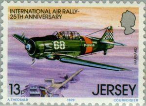 Sello: Airplanes (Jersey) (International Air Rally, 25th Anniversary) Mi:JE 202,Sn:JE 212,Yt:JE 196,AFA:JE 196