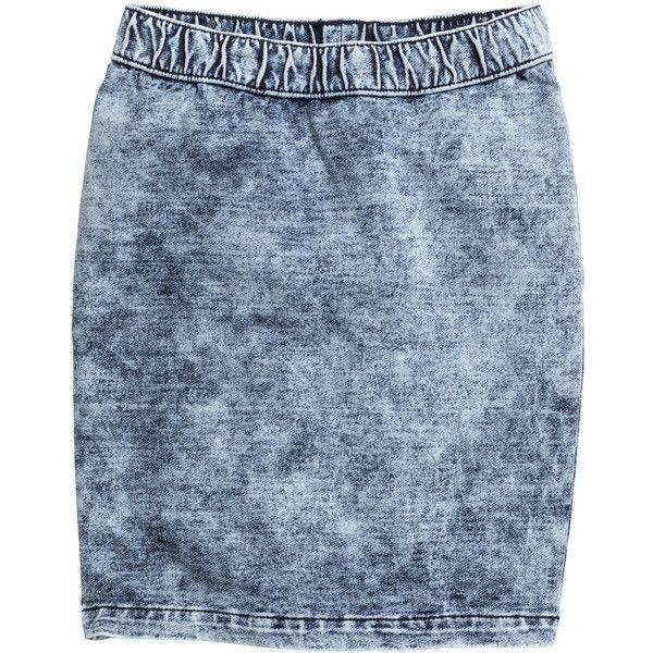 Sweatshirt skirt 9.99 (105 DKK) ❤ liked on Polyvore featuring skirts, denim skirt, knee length denim skirt, elastic waist skirt, blue skirt and blue denim skirt