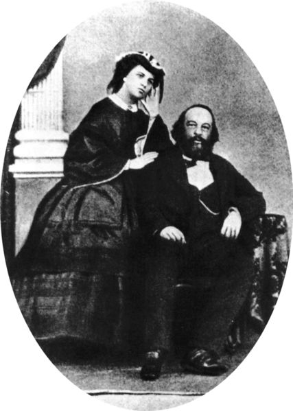 Mikhail Bakunin and his wife Antonia Kwiatkowska before Bakunins escape from Siberia.  Date	3 June 1861