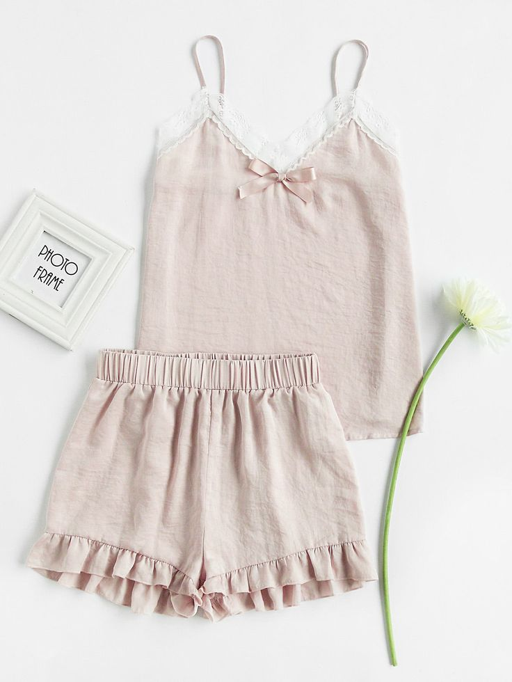 Shop Lace Trim Bow Detail Cami And Ruffle Shorts Pajama Set online. SheIn offers Lace Trim Bow Detail Cami And Ruffle Shorts Pajama Set & more to fit your fashionable needs.
