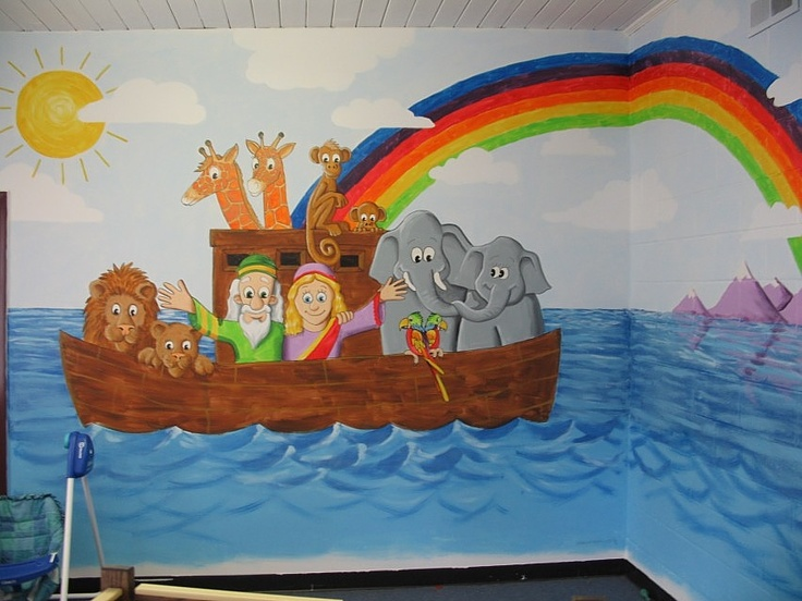 1000 images about bible class murals on pinterest image for Church nursery mural
