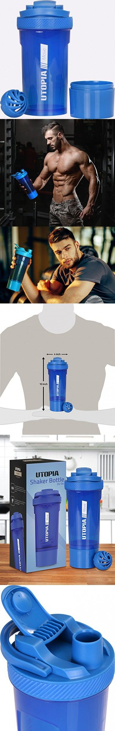 Classic Protein Mixer Shaker Bottle (24-Ounce Bottle) with Twist and Lock Protein Box Storage - Flip Cap and Tapered Spout - by Utopia Home (Blue)