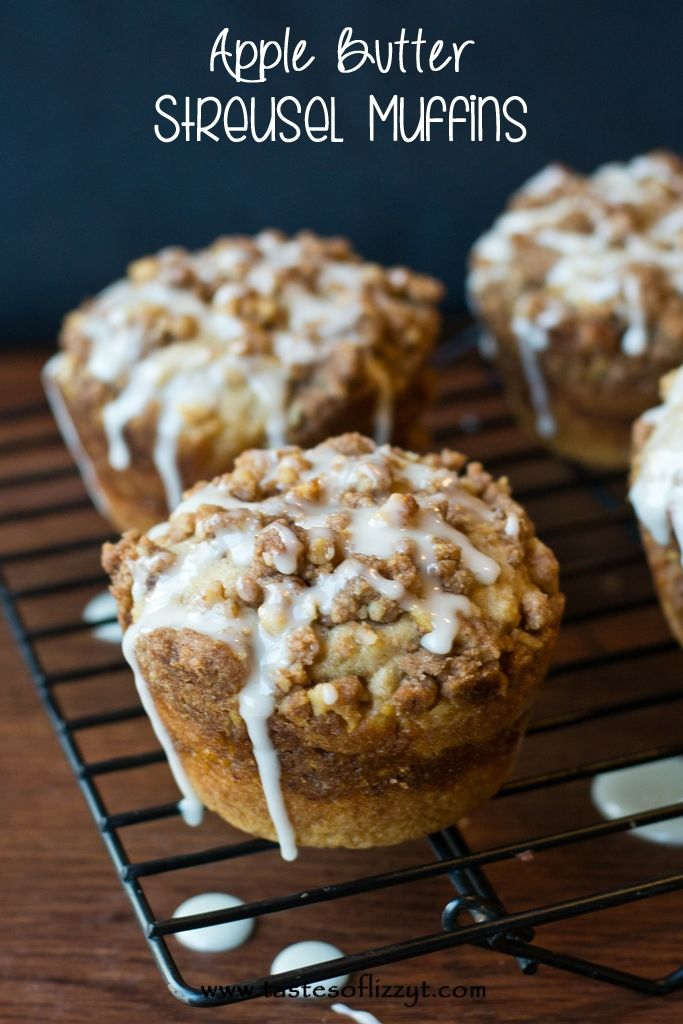 Apple Butter Streusel Muffins {Tastes of Lizzy T}  LOVE the apple butter center of these jumbo muffins! http://www.tastesoflizzyt.com/2013/09/16/apple-butter-streusel-muffins/