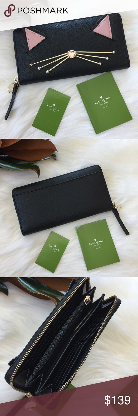 """Kate Spade 🌷Please Read the description! Thanks!🌷  Brand new with tag. No dust bag Retail: $199 Color: black/pink/gold 4.7"""" x 1.1""""x 8"""" zip around, 12 credit card slots,  3 Full-Length Cash Compartments, zipper change pocket and exterior slide pocket  Color may be slightly different bcz of lighting  🌈💯AUTHENTIC 🌈All sales are final 🚭Smoke & Pet free home 🙅NO TRADES  🙅NO HOLDS kate spade Bags Wallets"""