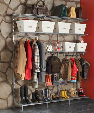 An Organized Entryway via the Container Store. My goodness do we need this in our garage!!!!!!!!!!!