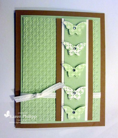 Embossed Kissing - colors are Baked Brown Sugar, Pistachio Pudding and Whisper White. Embossing folder is square lattice, and small butte...