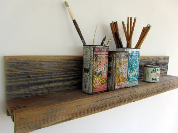 30 Inch Rustic Wall Mounted Reclaimed Wood Shelf For The